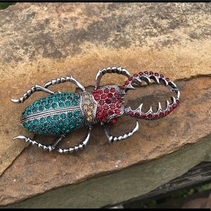 Beautiful paved crystals beetle bug brooch pendant